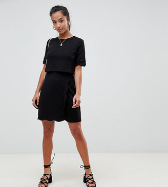 ASOS DESIGN Petite scalloped hem mini dress with crop top and wrap skirt