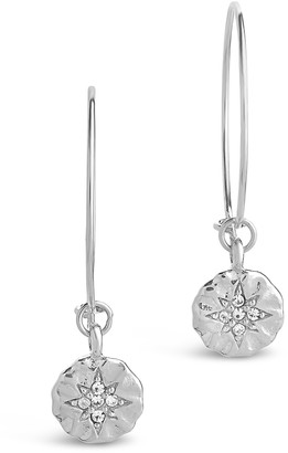 Sterling Forever Sterling Silver Pave CZ Burst Disk Charm Hoop Earrings