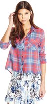Derek Heart Junior's Long Sleeve Yarn Dye Rayon Hi Low Plaid Shirt