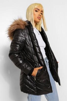 boohoo High Shine Faux Fur Trim Longline Puffer Coat