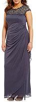 Alex Evenings Plus Cap-Sleeve Lace-Yoke Gown