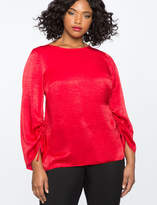 ELOQUII Ruched Sleeve Top