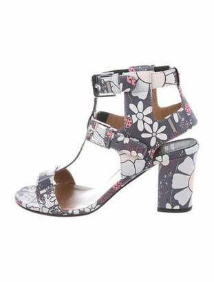 Laurence Dacade Leather Floral Print T-Strap Sandals Grey