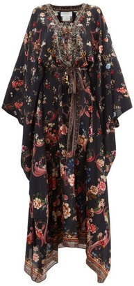 Camilla A Girl Like You-print Lace-up Silk Kaftan - Black Print