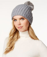Surell Star Stitched Knit Rabbit Fur Pom Hat