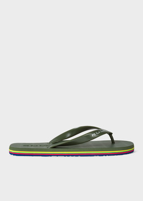 Paul Smith Men's Olive Green 'Dale' Flip Flops With Coloured Edge