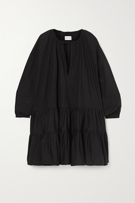 Marques Almeida Oversized Tiered Organic Cotton-poplin Dress - Black