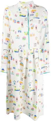 Mira Mikati Houses Print Shirt Dress