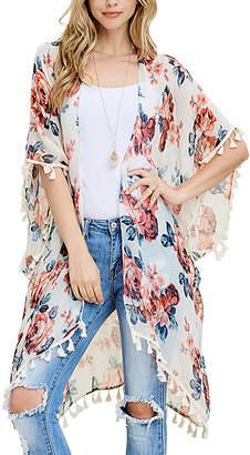 Riah Fashion Women's Shawls White - White Floral Fringe Kimono - Women