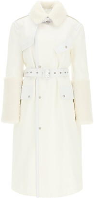 Mr & Mrs Italy COTTON TRENCH COAT WITH LEATHER AND SHEARLING INSERTS S White Leather, Fur, Cotton