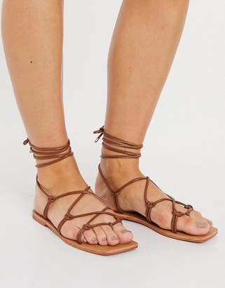 London Rebel square toe strappy tie up flat sandals in tan