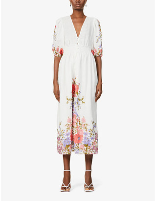 Zimmermann Floral-print linen midi dress