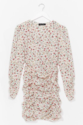 Nasty Gal Womens Ruched Floral Ditsy Print Mini Dress - White