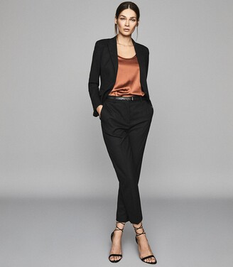 Reiss Hartley Cropped Jacket - Textured Cropped Blazer in Black