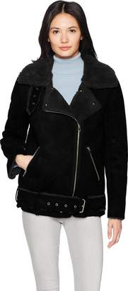 J.o.a. Women's Faux Shearling Biker Jacket
