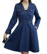 ACE SHOCK Women's Slim Fit Mid Length Belted Denim Jeans Dress Jumpsuits Plus Size (XL)