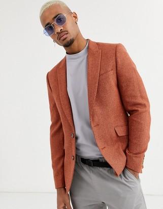Asos Design DESIGN slim blazer in rust with texture-Tan