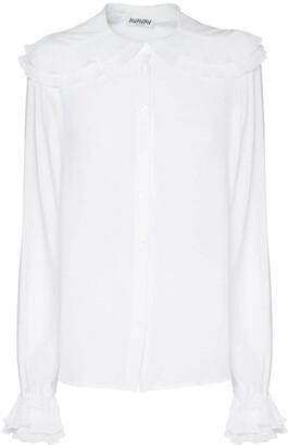 AVAVAV Pleated Collar Crepon Shirt