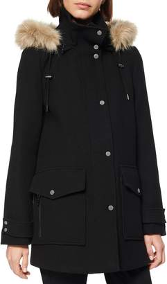 Andrew Marc Faux Fur Trim Hooded Duffle Coat