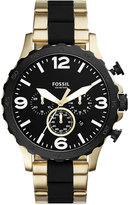 Fossil Men's Chronograph Nate Gold-Tone Stainless Steel & Black Silicone Bracelet Watch 50mm JR1526