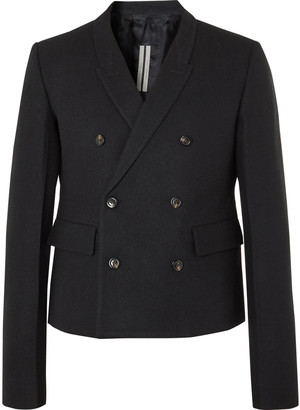 Rick Owens Double-Breasted Cotton And Wool-Blend Flannel Blazer