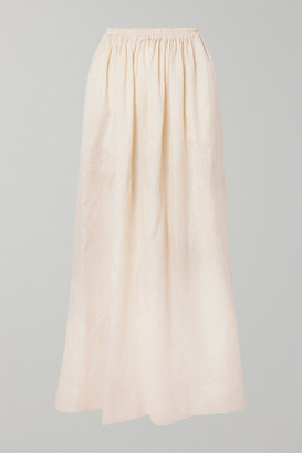 Matteau - Gathered Linen And Cotton-blend Maxi Skirt - Ivory