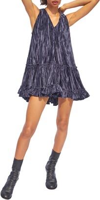 Free People Pleated Plush Plisse Velvet Swing Dress