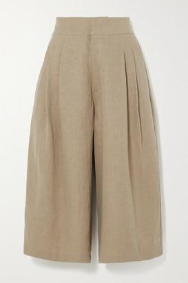 Le Kasha Abadan Pleated Linen Culottes - Army green