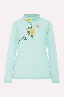 Dries Van Noten Floral-print Stretch-tulle Turtleneck Top - Turquoise