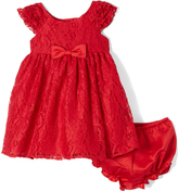 Laura Ashley Red Lace Angel-Sleeve Dress - Infant Toddler & Girls