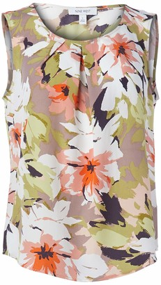 Nine West Women's Sleeveless Jewel Neck Floral Print Blouse