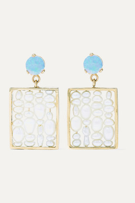 WWAKE + Net Sustain 14-karat Gold, Pearl And Opal Earrings - White