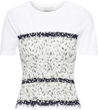 3.1 Phillip Lim Shirred Printed Crepe De Chine-paneled Cotton-jersey T-shirt