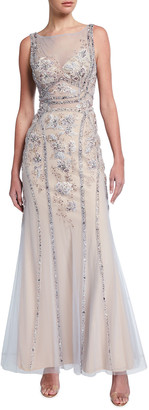 Jovani Beaded Floral Embroidered Illusion Column Gown