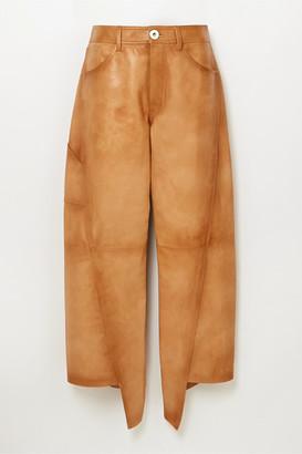 Lanvin Asymmetric Cropped Leather Straight-leg Pants - Brown