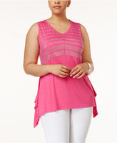 Belldini Plus Size Studded Handkerchief-Hem Top
