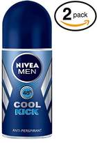 Nivea (Pack of 2 Bottles COOL KICK Men's Roll-On Antiperspirant & Deodorant. 48-Hour Protection Against Underarm Wetness. (Pack of 2 Bottles, 1.7oz / 50ml Each Bottle)