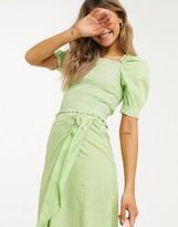 Monki Mona check print seersucker crop top in green