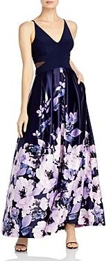 Aqua Floral Print Gown - 100% Exclusive