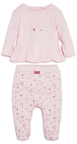 Absorba Girls' Swan Print Peplum Top & Footed Pants Set - Baby