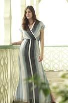 Shabby Apple Waterfall Striped Chiffon Maxi Dress Blue