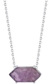 "Unwritten Fine Silver Plated Genuine Stone Pendant Necklace, 16""+2"" Extender"
