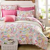 Cliab Paisley Bedding Pink Twin Or Queen For Teen Girls Duvet Cover Set 100% Cotton 5 Pieces(Size Optional)