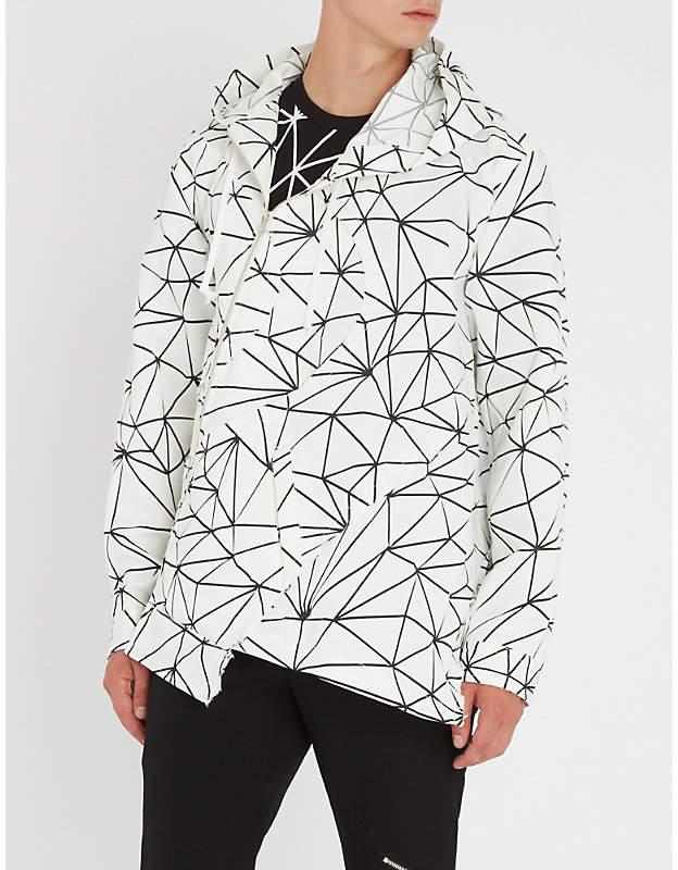 Comme des Garcons Geometric-print asymmetric woven hooded jacket