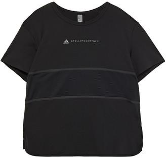 adidas by Stella McCartney Mesh-paneled Printed Stretch T-shirt