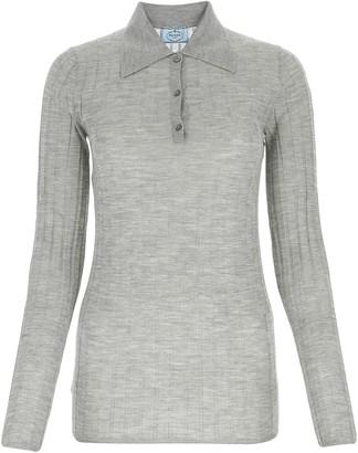 Prada Ribbed Long-Sleeve Polo Shirt