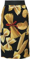 Dolce & Gabbana pasta print pencil skirt - women - Silk - 42