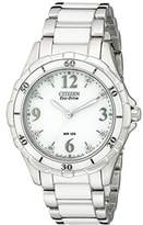 Citizen Women's EM0030-59A Stainless Steel Eco-Drive Watch with White Ceramic