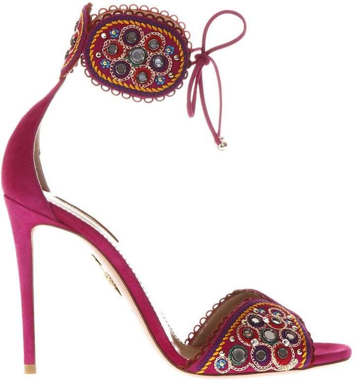 Aquazzura Suede Sandals With Decorations