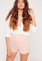 Missguided Button Front Pocket Shorts Pink